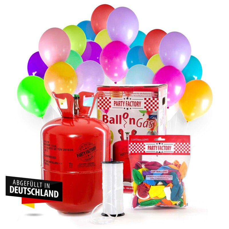Helium Ballongas für 50 Luftballons Set Angebot 30 Herz Luftballons gratis !!